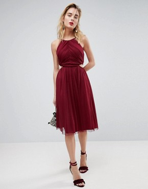 photo Dobby High Neck Midi Dress with Cut Out Sides by ASOS, color Plum - Image 1