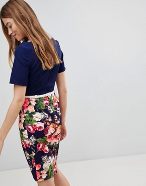 photo Floral Pencil Skirt Dress by Paper Dolls, color Navy Multi - Image 2