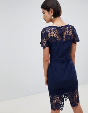photo Lace Detail Pencil Dress by Paper Dolls, color Navy - Image 2