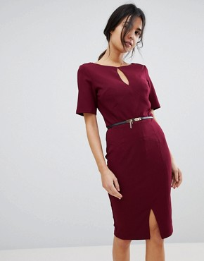 photo Belted Dress by Paper Dolls, color Wine - Image 1