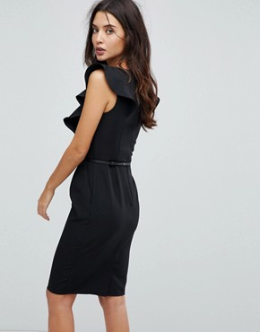 photo Pencil Dress with Ruffle Detail by Paper Dolls, color Black - Image 2