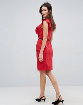 photo Pencil Dress with Ruffle Detail by Paper Dolls, color Deep Red - Image 2