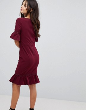 photo Midi Dress with Peplum Frill Hem and Sleeve by Paper Dolls, color Wine - Image 2