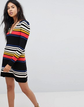 photo Gidget Striped Jumper Dress by Free People, color Black - Image 1