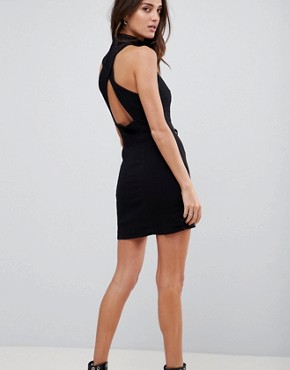photo High Society Lace Neck Bodycon Dress by Free People, color Black - Image 2