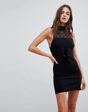 photo High Society Lace Neck Bodycon Dress by Free People, color Black - Image 1