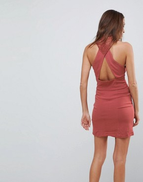 photo High Society Lace Neck Bodycon Dress by Free People, color Terracotta - Image 2