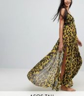 photo Cheetah Print Plunge Chiffon Maxi Beach Dress by ASOS TALL, color Cheetah Print - Image 1