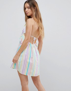 photo Candy Stripe Halter Frill Beach Dress by ASOS PETITE, color Candy Stripe - Image 2