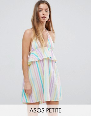 photo Candy Stripe Halter Frill Beach Dress by ASOS PETITE, color Candy Stripe - Image 1