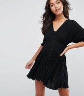 photo Casual Mini Tea Dress by ASOS, color Black - Image 1