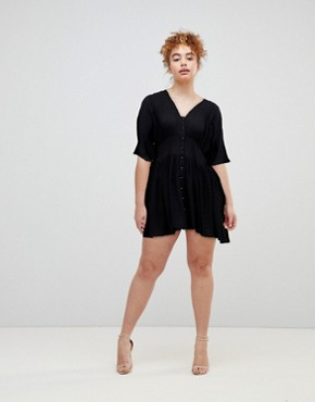 photo Casual Mini Tea Dress by ASOS, color Black - Image 3