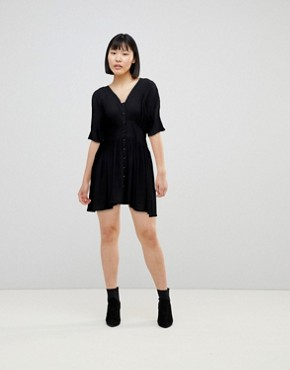 photo Casual Mini Tea Dress by ASOS, color Black - Image 4