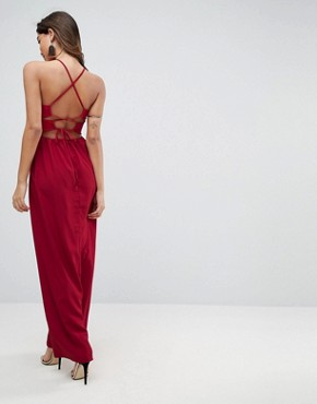 photo Tie Back Maxi Dress by ASOS, color Ruby - Image 1