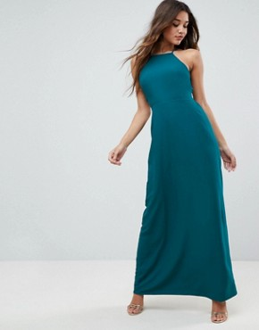 photo Tie Back Maxi Dress by ASOS, color Teal - Image 2