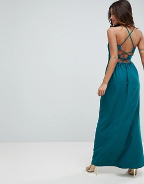 photo Tie Back Maxi Dress by ASOS, color Teal - Image 1