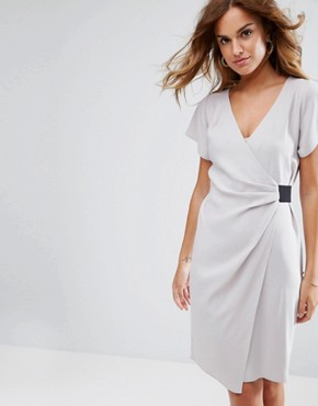 photo Drape Front Midi Pencil Dress with Elastic Detail by ASOS, color Silver - Image 1