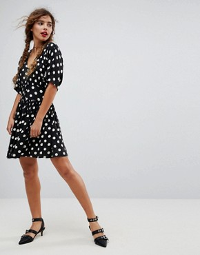 photo Casual Mini Tea Dress in Washed Spot by ASOS, color Multi - Image 1