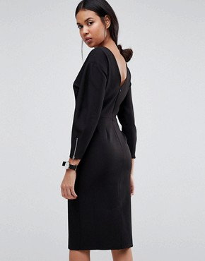photo Long Sleeve Midi Pencil Dress by ASOS, color Black - Image 2