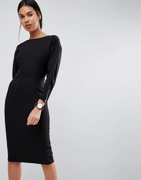photo Long Sleeve Midi Pencil Dress by ASOS, color Black - Image 1