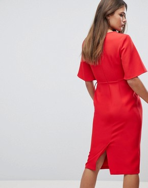 photo Midi Wrap Dress with Tie Detail by ASOS, color Red - Image 2