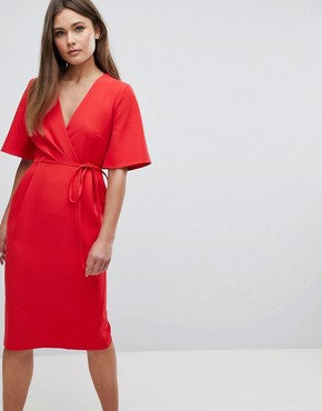 photo Midi Wrap Dress with Tie Detail by ASOS, color Red - Image 1