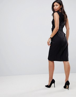 photo Wrap Over Midi Pencil Dress with Belt by ASOS, color Black - Image 2