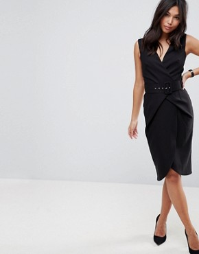 photo Wrap Over Midi Pencil Dress with Belt by ASOS, color Black - Image 1