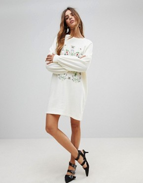 photo Embroidered Sweater Dress by Vero Moda, color Winter White - Image 4