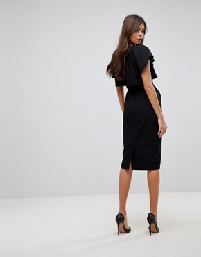 photo Double Layer Midi Wiggle Dress with Angel Sleeve by ASOS, color Black - Image 2