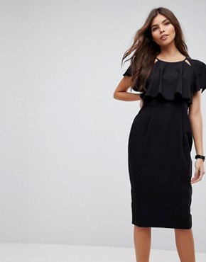photo Double Layer Midi Wiggle Dress with Angel Sleeve by ASOS, color Black - Image 1