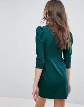 photo Wrap Front Mini Dress by ASOS, color Forest Green - Image 2