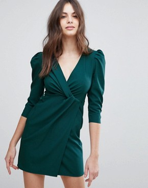 photo Wrap Front Mini Dress by ASOS, color Forest Green - Image 1