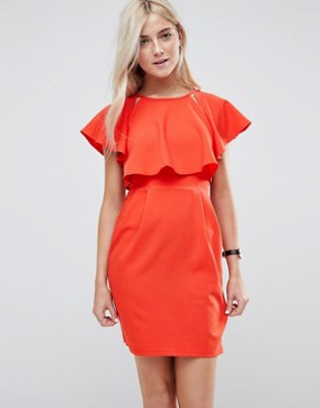 photo Double Layer Mini Wiggle Dress with Angel Sleeve by ASOS, color Red - Image 1