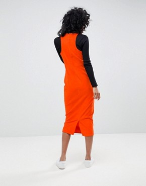 photo Cord Midi Dress with Racer Neck in Orange by ASOS DESIGN, color Red - Image 2
