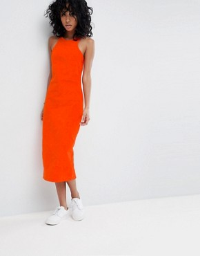 photo Cord Midi Dress with Racer Neck in Orange by ASOS DESIGN, color Red - Image 1