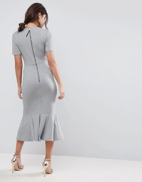 photo Midi Dress with Godet Pep Hem by ASOS, color Grey - Image 2
