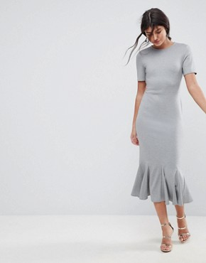 photo Midi Dress with Godet Pep Hem by ASOS, color Grey - Image 1