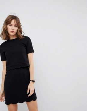 photo Scalloped Hem Mini Dress with Crop Top by ASOS, color Black - Image 1