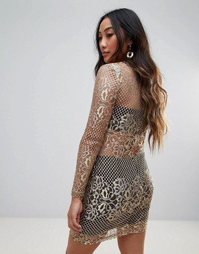 photo Metallic Lace Bodycon Dress by Parisian, color Gold - Image 2