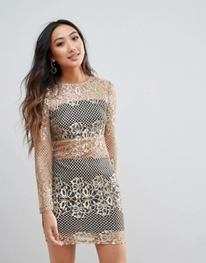 photo Metallic Lace Bodycon Dress by Parisian, color Gold - Image 1