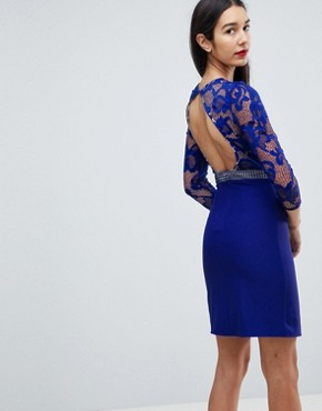 photo 3/4 Sleeve Skater Dress with Lace Upper by Little Mistress Tall, color Blue - Image 2
