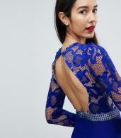 photo 3/4 Sleeve Skater Dress with Lace Upper by Little Mistress Tall, color Blue - Image 3