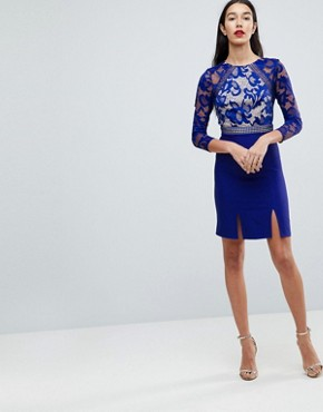 photo 3/4 Sleeve Skater Dress with Lace Upper by Little Mistress Tall, color Blue - Image 4