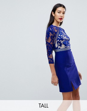 photo 3/4 Sleeve Skater Dress with Lace Upper by Little Mistress Tall, color Blue - Image 1