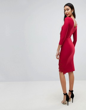 photo Long Sleeve Pencil Dress with Side Split and Applique Detail by Little Mistress Tall, color Red - Image 2