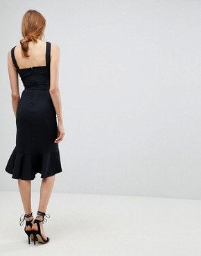 photo Peplem Midi Dress by Little Mistress Tall, color Black - Image 2