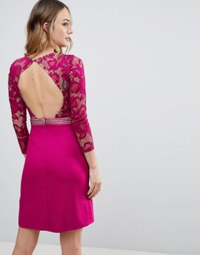 photo Long Sleeve Skater Dress with Lace Upper by Little Mistress Tall, color Raspberry - Image 2