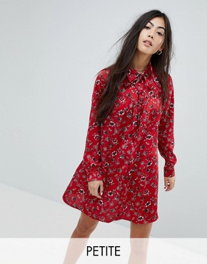 photo Long Sleeve Shirt Dress in Vintage Floral by Glamorous Petite, color Red - Image 1