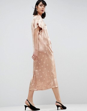 photo Floral Tab Detail Ruched Midi Dress by ASOS WHITE, color Peach - Image 2